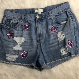 Distressed Cut Off  distressed jean shorts EUC